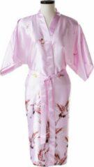 TA-HWA Kimono met Kraanvogels Roze Dames Nachtmode kimono S