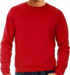 Fruit of the Loom Rode sweater / sweatshirt trui met raglan mouwen en ronde hals voor heren - rood - basic sweaters L (EU 52)