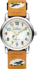 Colori Playtime 5 CLK068 Kinderhorloge met Schaap - Nylon Band - Ø 28 mm - Oranje