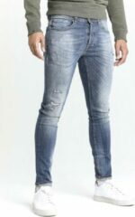 CHASIN' EGO Slim Blaidd mid rise slim fit jeans met destroyed details