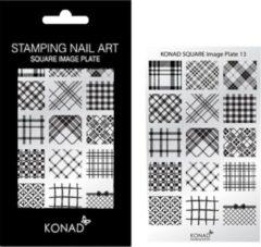 Grijze KONAD Square Image Plate 13 met 15 stamping nail art geïnspireerd door ' RUIT ' & ' KARO ': Schotse ruit en andere ruit-stoffen!