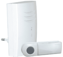 Witte Byron B411E - Draadloze deurbel - 75m - Plug-in deurbel - Beldrukker licht op in het donker - Wit