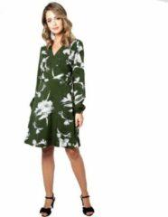 Voodoo Vixen Lange jurk -M- Molly bloemen wikkel Groen/Wit