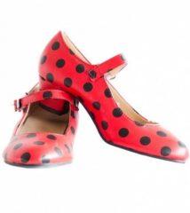 Rode Spaansejurk NL Spaanse schoenen rood zwart maat 42 – valt als maat 40 (binnenmaat 24,5 cm) bij jurk