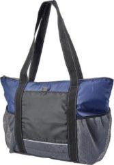 Shoppartners Grote familie koeltas voor strand/ camping/ picknick - zwart/blauw