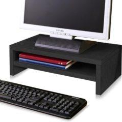 Way Basics Duurzame monitorstandaard met opbergvak zwart