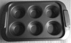 Zwarte YILTEX – Muffinvorm – Bakvorm – Anti Aanbaklaag - 6Stuks Muffins - 31.5x19.5x3.4cm