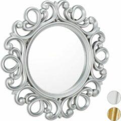 Relaxdays spiegel rond - sierspiegel gang - wandspiegel - design - 50 cm rond zilver
