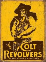 Gele Desperate Colt Revolvers Metalen wandbord 31,5 x 40,5 cm.