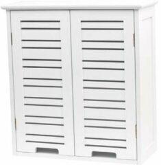 Gebor Miami Praktische en Brede Wandkast van MDF met 2 deuren - Wit - 55x52x22cm - Opbergkast - Badkamer meubel - Opbergmeubel - Wandmeubel - Wandkast - Badkamerkast - Badkamer