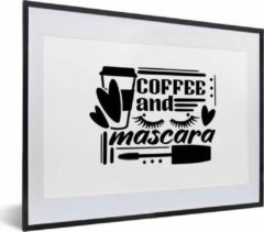 PosterMonkey Quote coffee and mascara op witte achtergrond 30x20 cm - klein