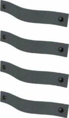 Handles and more Leren handgrepen /Platte greep - 4 stuks - DONKERGRIJS - maat L (22,2 x 2,5 cm) - incl. 3 kleuren schroefjes