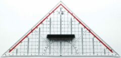 Geodriehoek Möbius & Ruppert 30cm plexiglas transparant voor technisch tekenen