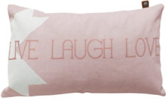 Roze OVERSEAS sierkussenhoes Live Laugh Love (30x50 cm)