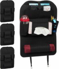 Zwarte Relaxdays 4 x autostoel organizer - auto organizer kind - groot - bescherming stoel