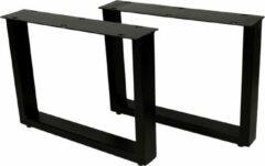 HSM Collection Salontafelpoten - U-model - 50x38 cm - gepoedercoat zwart metaal - set van 2