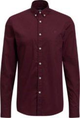 Bordeauxrode WE Fashion Heren slim fit overhemd van soft touch kwaliteit - Maat XL