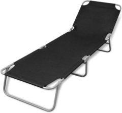 Zwarte VidaXL Ligstoel inklapbaar met verstelbare rugleuning (zwart)
