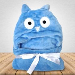 Blauwe Babydeken Uil - Wikkeldeken & Badcape - 100 x 70 cm - Kraamcadeau - Comfy Capes