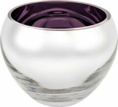 Rawa Geschenken Luxe waxinelicht houder sicore glas - paars gekleurd en zilver - kaarshouder glas- kaarstandaard