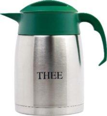 Isoleerkan EasyClean 1,6 liter rvs met opschrift THEE en groen kunststof dop en handgreep