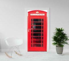 Kimano Deurposter - deursticker - engelse rode telefooncel - 93 x 201,5 cm