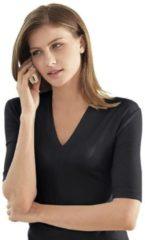 Zwarte Casual Looks shirt met korte mouwen en V-hals