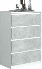 Pro-meubels - Ladekast Ribera - Wit/Beton - 4 lades - 70cm - Commode