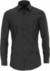 Antraciet-grijze Venti heren overhemd poplin strijkvrij slimfit
