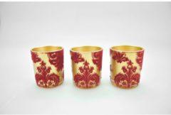 Teelichthalter Set Samt HTI-Line Rot, Gold