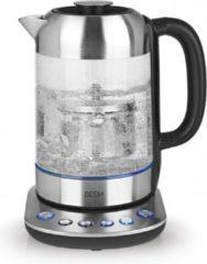 Roestvrijstalen BEEM Waterkoker Teatime II met theefilter en temperatuurselectie – 1,7L, RVS/Glas