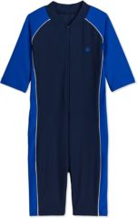 Blauwe Coolibar - UV-zwempakje voor jongens en meisjes - Blue Tropical Flower - maat S (5-6 jaar)