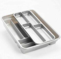 Forte Plastics Bestekbak/bestekhouder Zilver - 2 Lagen - 40 X 30 X 7 Cm - Keuken Opberg Accessoires