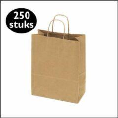 Bruine Kadoonline 250 papieren draagtassen kraft middel M (24x12x31cm)