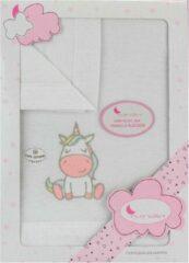 Interbaby Lakenset Wieg Unicorn 152 X 102 Cm Katoen Roze 3-delig