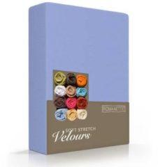 Paarse Romanette - Velours - Hoeslaken - Tweepersoons - 140/150x200/220 cm - Lavendel