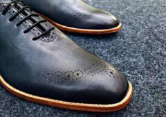 Pantera Pelle Leather Shoes Volledig Lederen Herenschoen, donkerblauw met grijs, maat 42