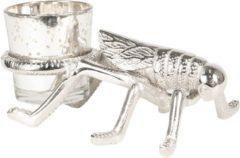Clayre & Eef | Waxinelichthouder insect 17*11*6 cm | Zilverkleurig | Aluminum | 6AL0012