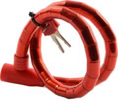 Merkloos / Sans marque Fietsslot Inclusief 2 sleutels - Fietsslot Rood Slangslot 1.8 CM x 80 CM