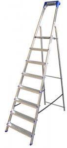 Afbeelding van Alumexx Huishoudtrap 8 treden Anti Slip - Tot 150kg - 3.40m werkhoogte - Grijs