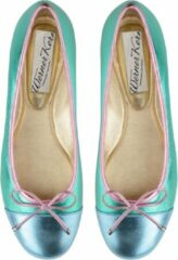 Dames Ballerina's Kleurrijk – Unieke Ballerina Schoenen – Turquoise en Roze – Nappaleer – Werner Kern Pina – Maat 39