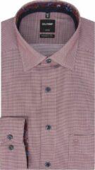 Bordeauxrode OLYMP Luxor Modern Fit overhemd - donkerrood mini dessin (contrast) - Strijkvrij - Boordmaat: 39