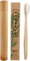 Btp Bamboe tandenborstel wit met bamboe reiskoker | Medium soft | Biologisch Afbreekbaar |