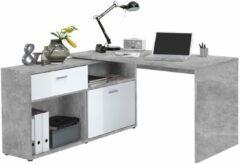 FD Furniture Hoekbureau Gody - Grijs beton met hoogglans wit