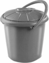 Hega hogar Grijze camping wasemmer met deksel 14 liter 34x32,5cm - Kunststof/plastic vuilnisemmer/luieremmer - Afval scheiden - GFT afvalbak - Luieremmer