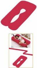 Merkloos / Sans marque Voedingskussen - Zwangerschapkussen - Zijslaapkussen - Tweedelig - Bodykussen kleur Rood