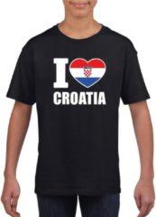 Zwarte Shoppartners Zwart I love Kroatie supporter shirt kinderen - Koratisch shirt jongens en meisjes XS (110-116)