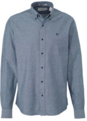Scotch & Soda gemêleerd regular fit overhemd blauw