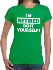 Bellatio Decorations Pensioen I am retired do it yourself t-shirt groen dames 2XL