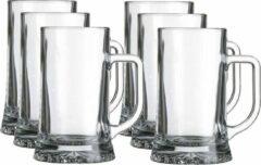 Transparante Merkloos / Sans marque 6x Bierglazen/bierpullen 520 ml - Bierpullen oktoberfest